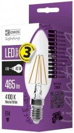 EMOS LED žárovka Filament svíčka 4W (náhrada 40W), E14, neutrální bílá