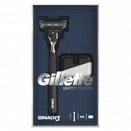 Gillette Mach3 Holicí Strojek Pro Muže Dárkové Balení Limitované Řady S Černou Rukojetí A Stojanem Na Holicí Strojek