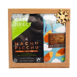 Dárková krabička Cafédirect BIO Machu Picchu mletá káva a BIO mléčná čokoláda s karamelizovanými mandlemi a mořskou solí 39%