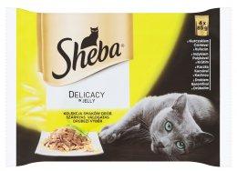 Sheba Delicacy kapsičky pro dospělé kočky Drůbeží výběr v želé 4 × 85g