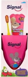Signal Strawberry dětská zubní pasta 50ml + Signal Kids zubní kartáček měkký + kelímek zdarma