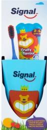Signal Signal Fruity dětská zubní pasta 50ml + Signal Kids zubní kartáček měkký + kelímek zdarma