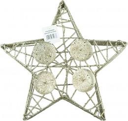 Vánoční svícen z proutí - zlatá hvězda