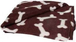 Karlie Fleecová deka pro psy s motivem kostiček, hnědá, 100x70cm