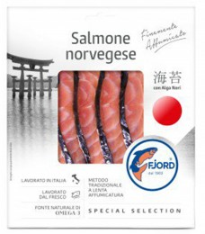 Fjord Norský losos s řasou Nori
