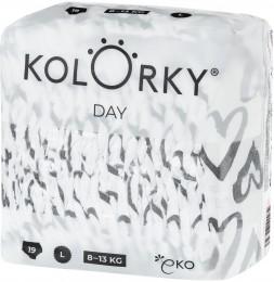 Kolorky Day L (8-13 kg) - srdce - 19 ks - jednorázové eko plenky