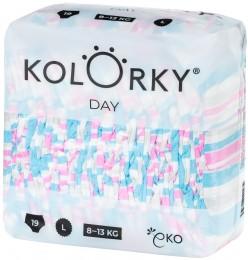 Kolorky Day L (8-13 kg) - pruhy - 19 ks - jednorázové eko plenky