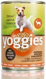 Yoggies Konzerva pro psy s kousky zveřinového masa, dýní a pupálkovým olejem