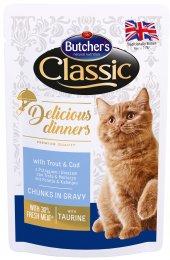 Butcher's Classic Delicious Dinners Kapsička s pstruhem a treskou pro kočky