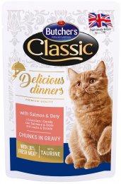 Butcher's Classic Delicious Dinners Kapsička s lososem & Doradou pro kočky