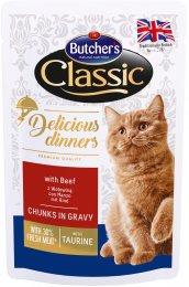Butcher's Classic Delicious Dinners Kapsička s hovězím masem pro kočky