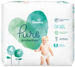 Pampers Pure Protection 9-14 kg (velikost 4) 28 ks