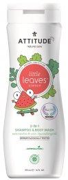 Attitude Little leaves Dětské tělové mýdlo a šampon (2 v 1) s vůní melounu a kokosu