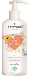 Attitude Baby leaves Dětské tělové mýdlo a šampon (2 v 1) Baby leaves s vůní hruškové šťávy