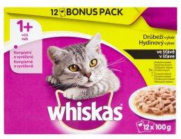 Whiskas kapsičky pro dospělé kočky Drůbeží výběr ve šťávě 12 × 100g