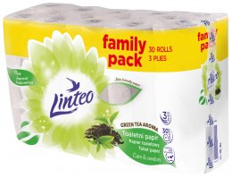 Linteo Green Tea toaletní papír 3 vrstvý, bílý, 30ks