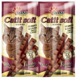 AKINU CATIT SOFT Tyčinky kočka krůtí s játry 6 ks