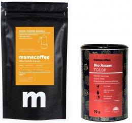 Mamacoffee Balíček káva Brasil fazenda Bananal a sypaný čaj Assam