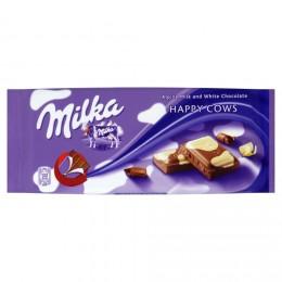 Milka Happy cows mléčná čokoláda z alpského mléka a bílá čokoláda