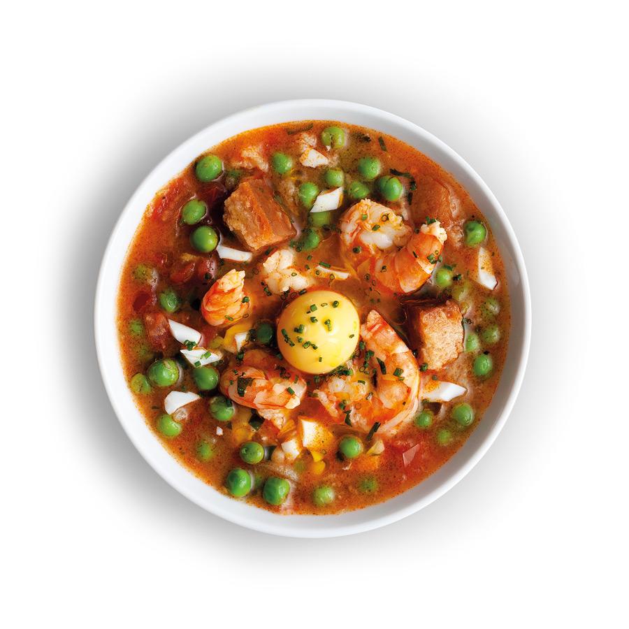 Polévka s krevetami a zeleninou