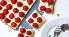 Křehký koláč s jahodami
