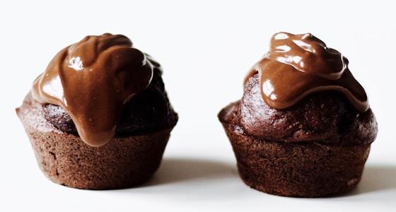 Banánové muffiny s čokoládovou ganache
