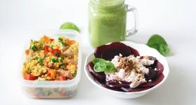 Krůtí kuskus, salát s řepou a zelené smoothie