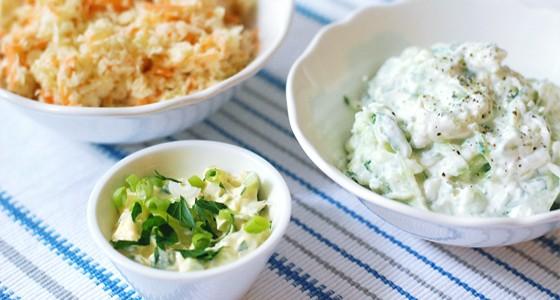 Coleslaw, Tzatziky a bylinková majonéza
